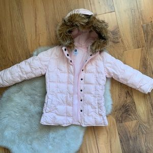Gap Fur Hood Pink Puffer Jacket Size 4 5 XS